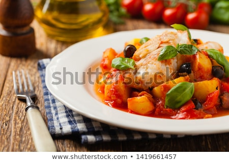 cod, roasted potato, tomatoes and green peppers