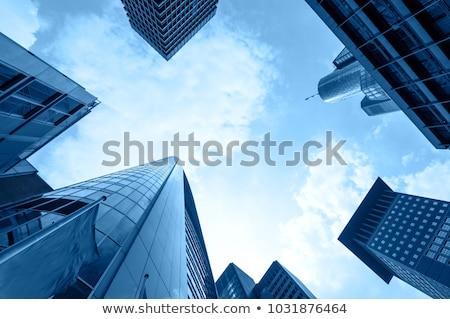 Skyline Frankfurt wolkenkrabbers Duitsland gebouw reizen Stockfoto © manfredxy