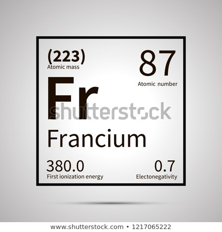 Francium chemical element with first ionization energy, atomic mass and electronegativity values ,si Stock photo © evgeny89