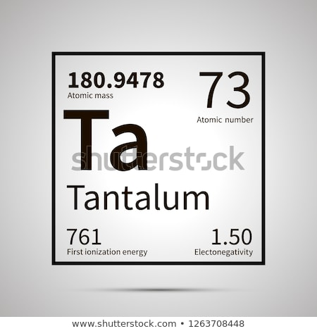 Tantalum chemical element with first ionization energy, atomic mass and electronegativity values ,si Stock photo © evgeny89
