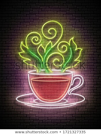 Vintage Glow Signboard with Tea Cup and Ornate Hot Steam Stock photo © lissantee