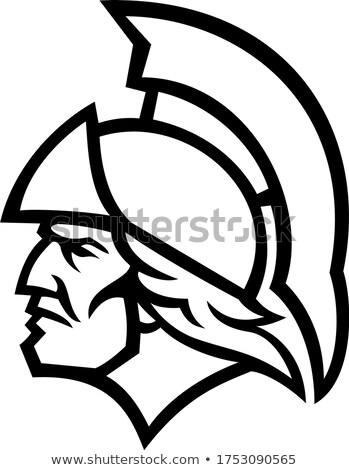 Görög hős oldalnézet kabala feketefehér ikon Stock fotó © patrimonio