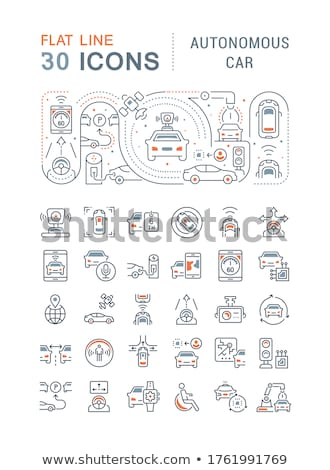 Vehicles concept - line design style banners set Stock photo © Decorwithme