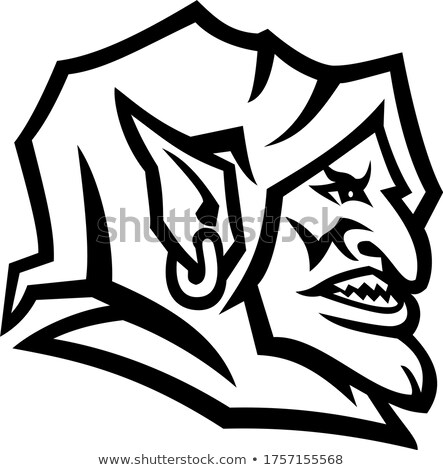 Goblin Head Side View Mascot Black and White Stock photo © patrimonio