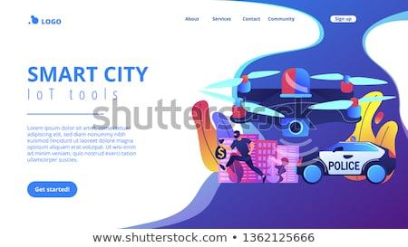 Aplicación de la ley aterrizaje página policía coche máscara Foto stock © RAStudio