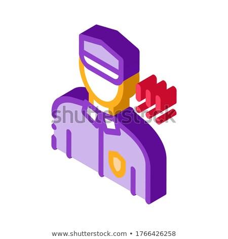 Rendőr irányítás biztonság izometrikus ikon vektor Stock fotó © pikepicture