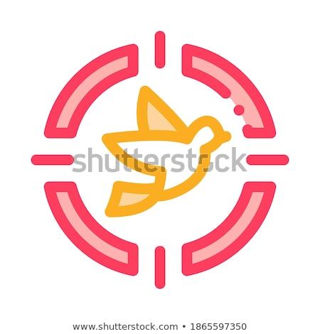 Battant oiseau icône léger ligne vecteur Photo stock © pikepicture