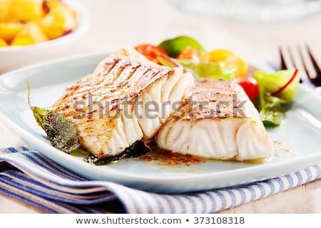 hal · zöldségek · citrom · fehér · tányér · bors - stock fotó © ilolab