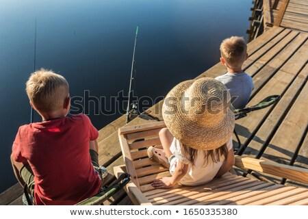 Nehir balık tutma güverte sandalye Stok fotoğraf © Borissos