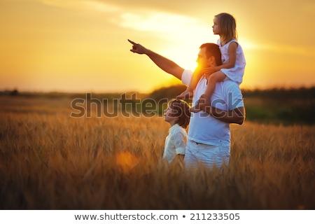 Pai indicação algo fora filha praia Foto stock © photography33