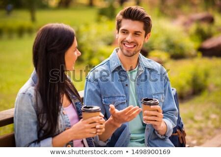 Handsome couple and his friend Stock photo © arturkurjan