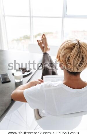 cute · jonge · vrouw · melk · cookies · feestelijk - stockfoto © photography33