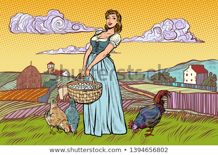 Farm Girl With Basket Of Eggs Stock fotó © studiostoks