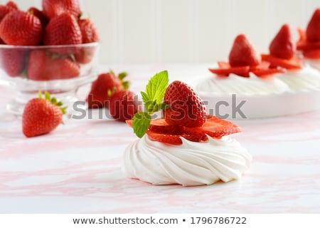 Vers aardbeien kom roze muffin melk Stockfoto © elly_l