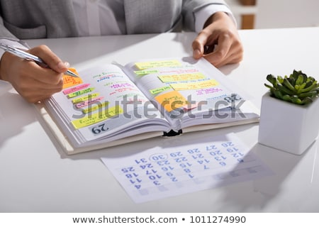 Zakenvrouw agenda permanente witte business vrouw Stockfoto © grafvision