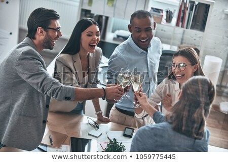 Stockfoto: Business · team · drinken · champagne · vrouw · vergadering · team