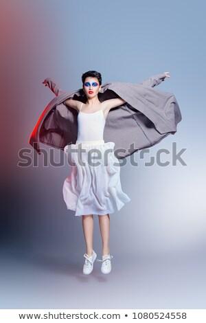 belleza · femenino · blanco · contemporáneo · vestido · posando - foto stock © gromovataya