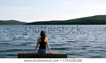 Barna hajú nő ül pad lány fa Stock fotó © photography33
