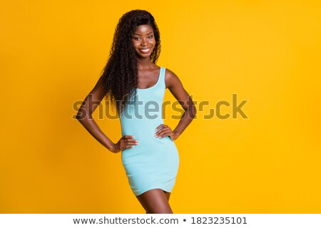 fashion young woman in funky blue long dress smiling stock photo © gromovataya