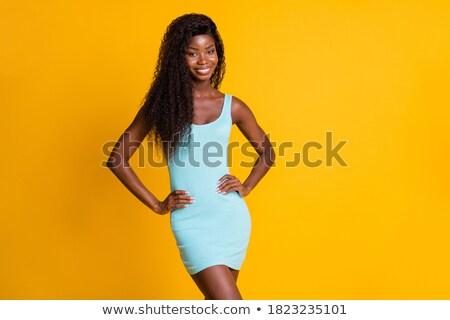 Divat fiatal nő funky kék hosszú ruha Stock fotó © gromovataya