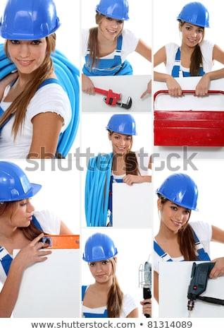 Montagem feminino encanador trabalhar edifício tecnologia Foto stock © photography33