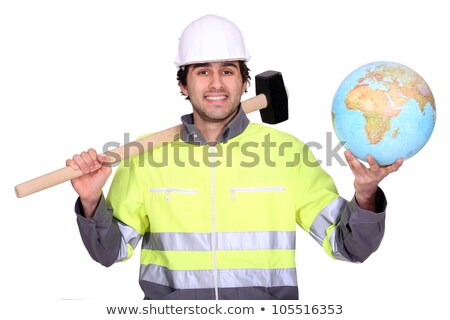 Tradesman holding a rubber mallet Stock photo © photography33