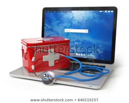 ノートパソコン · 応急処置 · 3次元の図 · 孤立した · 白 · キーボード - ストックフォト © blasbike