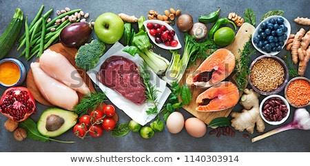 carne · verduras · frescas · fondo · verde · cena - foto stock © maisicon