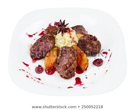 groot · cheeseburger · aardappel · saus · geïsoleerd · groene - stockfoto © johnkasawa