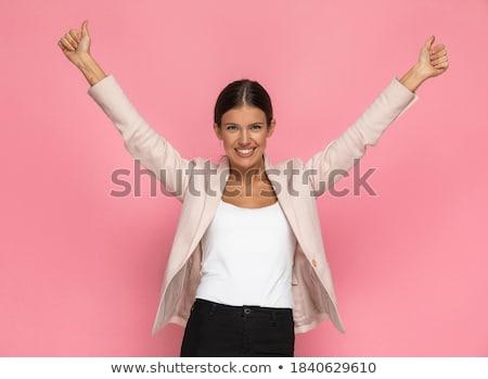 jovem · empresária · aprovação · branco · mão · sorrir - foto stock © williv
