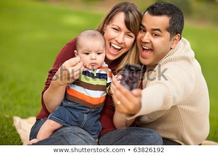 gelukkig · halfbloed · paar · zelfportret - stockfoto © feverpitch