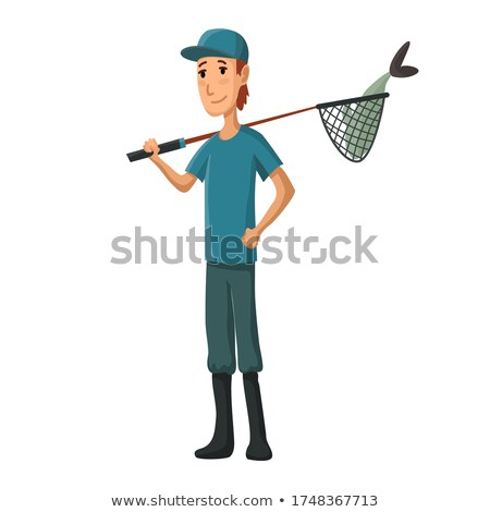 Boy holding fishing net Stock photo © zzve