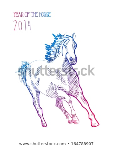 cheval · 2014 · heureux · coloré · croquis - photo stock © cienpies