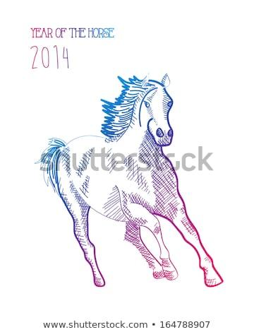 Paard 2014 geïsoleerd gelukkig tijdgenoot Stockfoto © cienpies