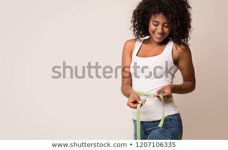 幸せ · 女性 · 美しい · 若い女性 · 巻き尺 - ストックフォト © andreypopov