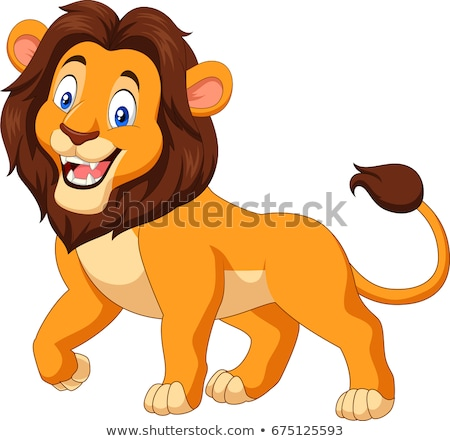 Leão desenho animado ilustração floresta pôr do sol natureza Foto stock © adrenalina