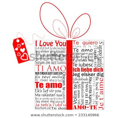 Gezegde liefde verschillend talen Rood papier Stockfoto © stevanovicigor
