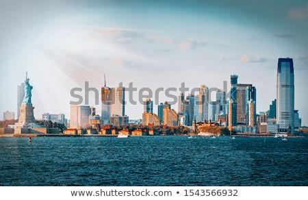 Manhattan New York sziluett NY USA iroda Stock fotó © lunamarina