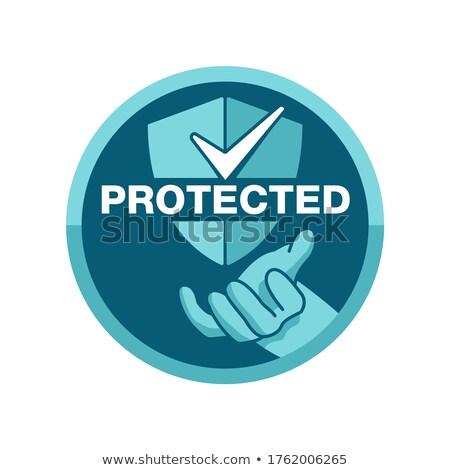 Protected Circular Green Vector Web Button Icon Stock photo © rizwanali3d