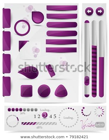 Pobrania fioletowy wektora web icon zestaw przycisk Zdjęcia stock © rizwanali3d