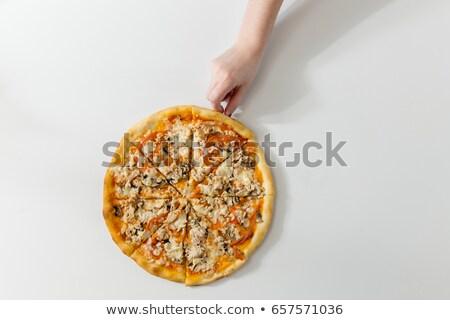 Mannelijke hand heerlijk pizza slice Stockfoto © Elisanth