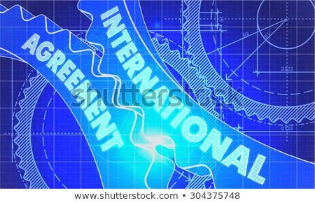 Internacional acordo diagrama engrenagens industrial projeto Foto stock © tashatuvango