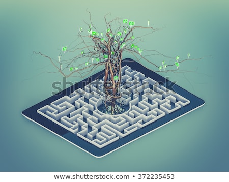 Social media icons set in tree shape on Maze in the tablet. stock photo © teerawit