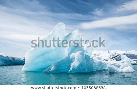 mavi · iki · buzul · göl · İzlanda · yansıma - stok fotoğraf © hofmeester