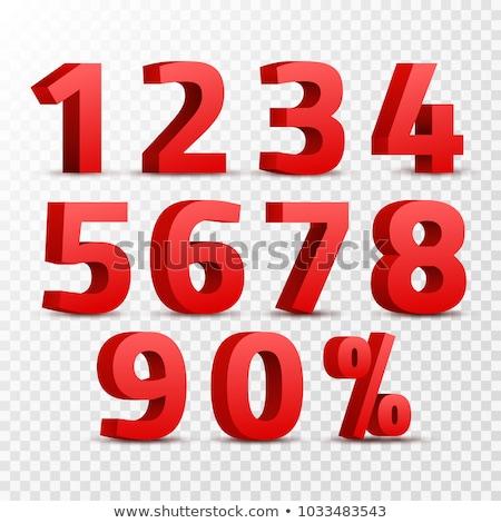 Szám vektor piros webes ikon terv digitális Stock fotó © rizwanali3d