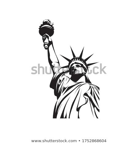 Posąg wolności sylwetka odizolowany biały miasta Zdjęcia stock © Bigalbaloo