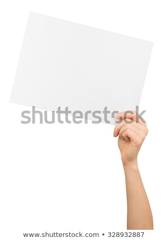 Humans left hand holding big white card Stock photo © cherezoff