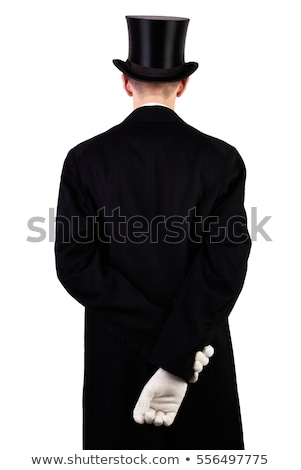 Back view of business man in black clothes and hat  Stock photo © deandrobot