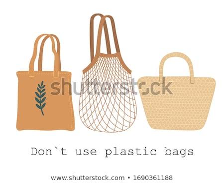 Környezetbarát fonott bevásárlószatyor kéz fa divat Stock fotó © shutswis