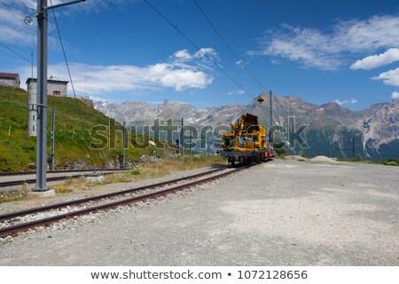Alp Grum railway station is situated on the Bernina Railway Stock photo © CaptureLight